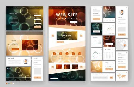 Website template design with interface elements. Bokeh defocused backgrounds. Vector illustration. Vektorové ilustrace