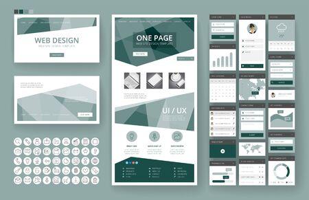 Modello di sito Web, design di una pagina, intestazioni ed elementi di interfaccia.