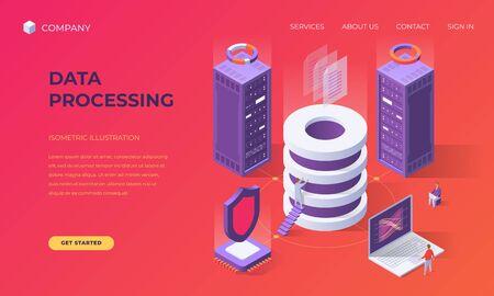Website landing page, promotion poster, flyer or brochure concept for computer data base processing, isometric vector illustration