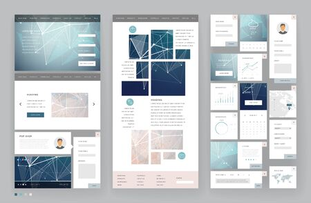 Website template design with interface elements. Low poly abstract backgrounds. Vector illustration. Ilustração Vetorial