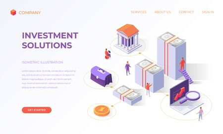 Website landing page, promotion poster, flyer or brochure concept for business investment solutions, isometric vector illustration