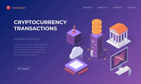Website landing page, promotion poster, flyer or brochure concept for cryptocurrency transactions, isometric vector illustration