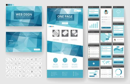 Website template, one page design, headers and interface elements. Low poly abstract backgrounds. Vettoriali