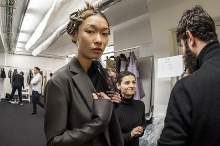 alberto: Model in the backstage of Alberto Zambelli during Milan Fashion Week 2015 Editorial