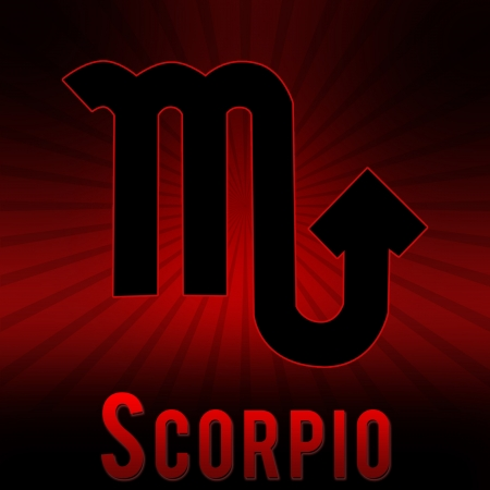 Scorpio symbol with a red background and black burst  photo