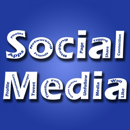 textual: A blue background image with Social Media text in bold fonts and other social media and marketing related keyworrds  Stock Photo