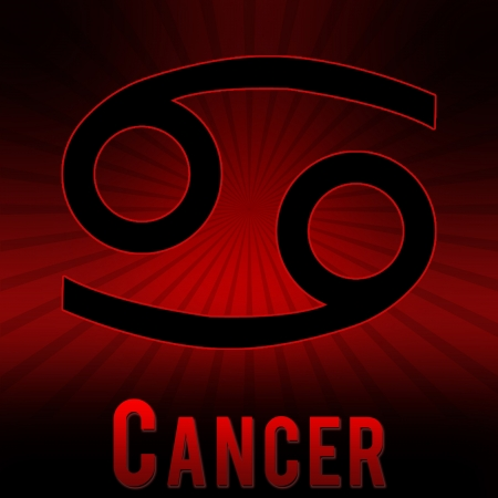 Cancer symbol with a red background and black burst. Stock Photo - 17710962