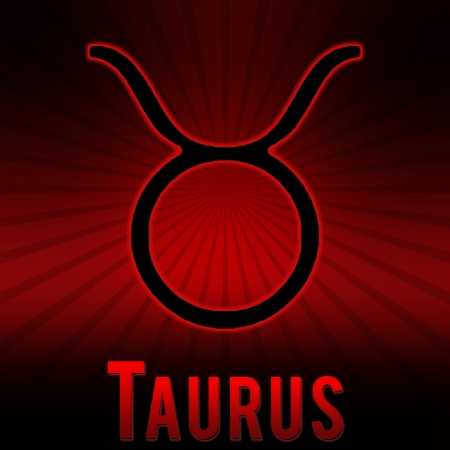Taurus symbol with a red background and black burst. photo
