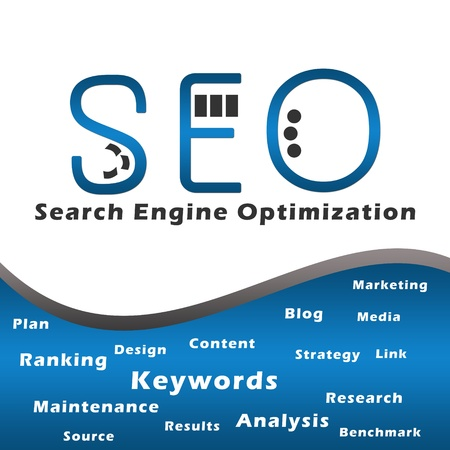 Seo Blue with Keywords Stock Photo - 17995105