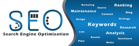 Seo Blue with Keywords Banner Standard-Bild