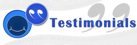Testimonials Banner Blau Standard-Bild - 17995112