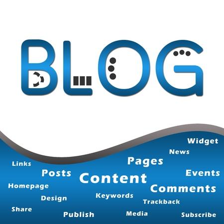Blog Blue with Keywords Stock Photo