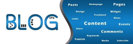 Blog Banner with Keywords Stock Photo