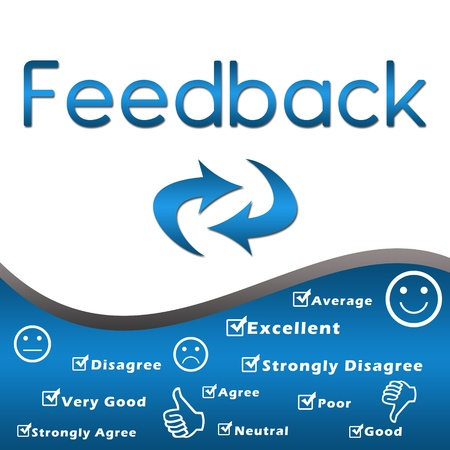 feedback: Feedback with keywords - Blue Stock Photo