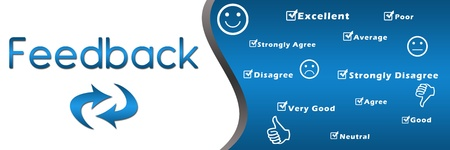 Feedback header with keywords - Blue photo