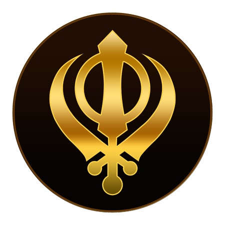Sikh Symbol - Golden symbol in dark background photo