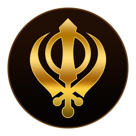 gurudwara: Sikh Symbol - Golden symbol in dark background