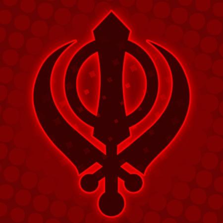 Sikh Symbol - Red Halftone background photo