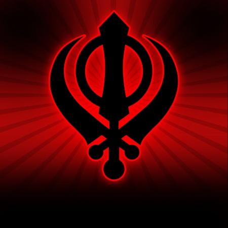 Sikh Symbol - Red Black Burst photo