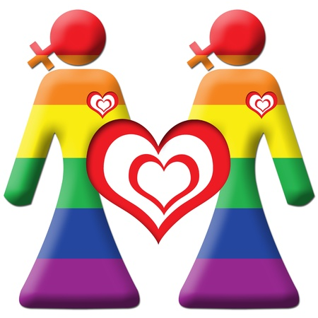 Lesbian Graphic - Two Girls - Rainbow photo