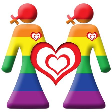 symbolic woman: Lesbian Graphic - Two Girls - Rainbow