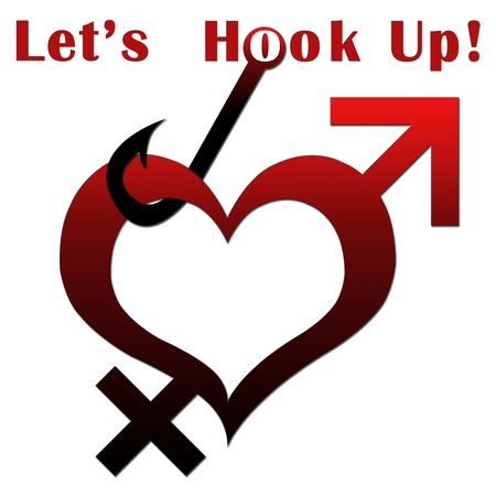 hook up: Heart Shape with Lets Hook Up text