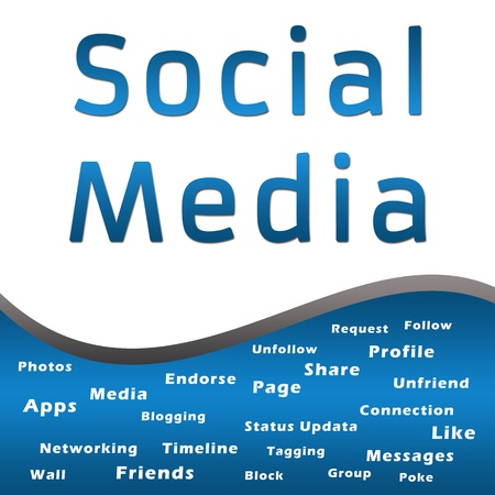textual: Social Media with Keywords - Blue