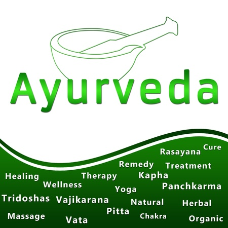 Ayurveda Heding und Text - Green Standard-Bild - 18652379