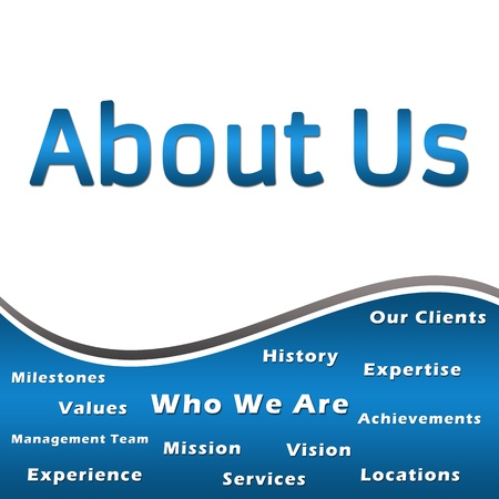 about us: About Us - Heading and Keywords - Blue Stock Photo