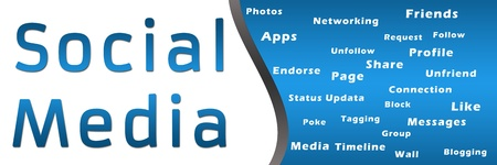 textual: Social Media with Keywords - Blue Banner Stock Photo