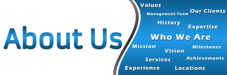 about us: About Us - Heading and Keywords - Blue Banner