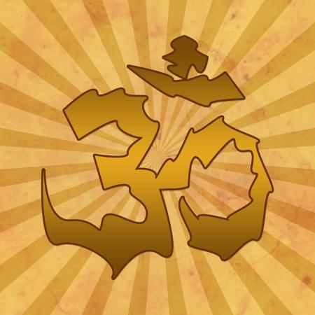 Aum in Brown Grunge Background photo