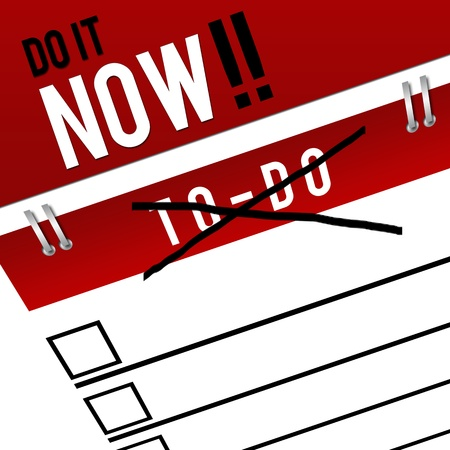 energize: Do It Now - Corssed To Do List Stock Photo