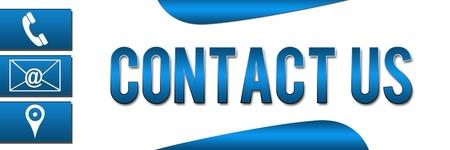 Contactez-nous Blue Bannière Banque d'images - 19399724