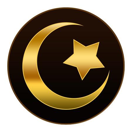 Oro Islam Symbol in sfondo scuro marrone