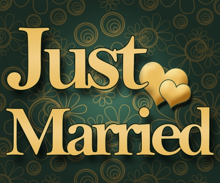 wedding reception decoration: Just Married - Green Floral Stock Photo