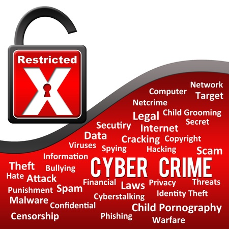Cyber Crime - Red with Tag Cloud Stock Photo - 21266450