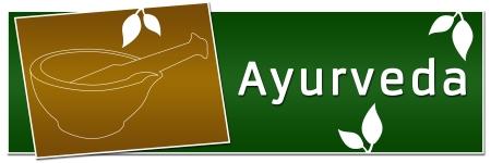 Ayurveda Mortaio Banner Verde Oro Archivio Fotografico