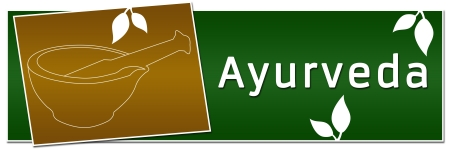 Ayurveda Mortar Banner Green Golden