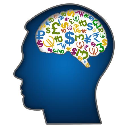 Menschliches Gesicht mit Währungssymbole in Brain Standard-Bild - 23866057