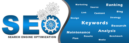 Seo With Gears and Keywords Banner  Banco de Imagens