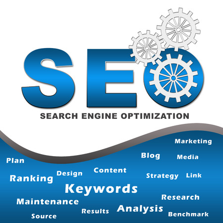 Seo with Gears and Keywords Square Stock Photo - 24544653