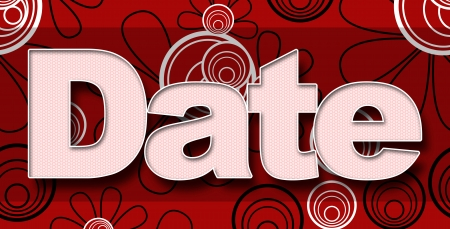 red black white: Date in Red Black White Floral Background Stock Photo