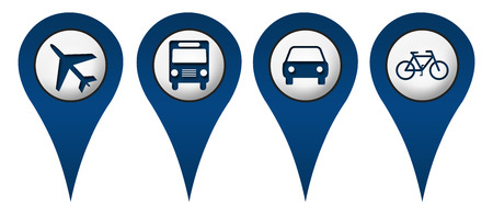 Cycle Plane Bus Car Location Icons photo