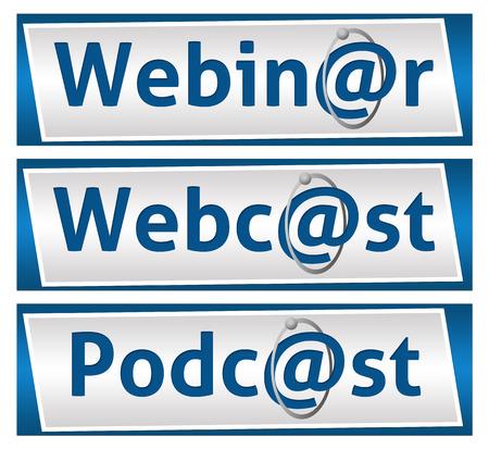 webcast: Webinar Webcast and Podcast Blue Blocks