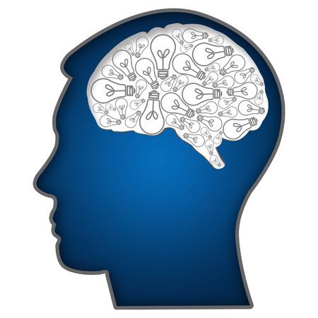 Menselijk hoofd met bollen in de hersenen