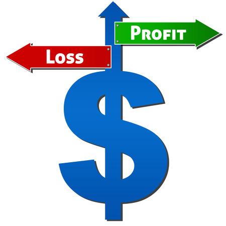 perdidas y ganancias: D�lar con Profit Loss Entrar Foto de archivo