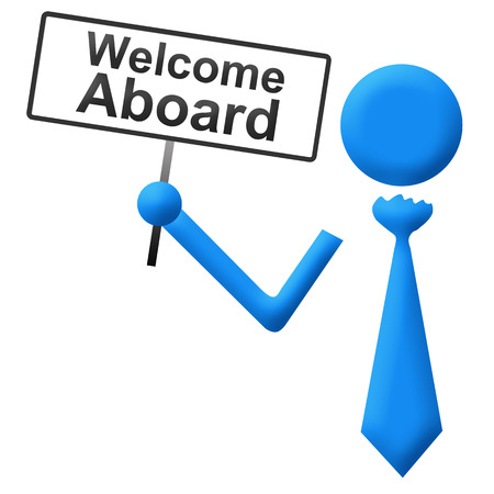 aboard: Welcome Aboard Human with Signboard Stock Photo