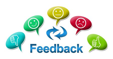 criticism: Feedback with Colourful Comments Symbol Stock Photo