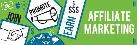 Affiliate Marketing Verde Blu Banner Archivio Fotografico